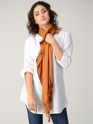 Orange Natural-dyed Silk Wool Stole