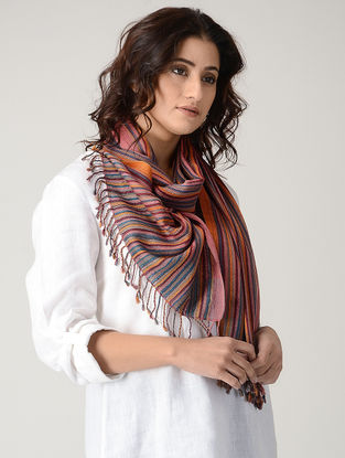 Multicolored Natural-dyed Silk Wool Stole