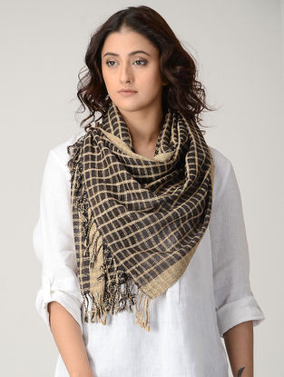 Black-Beige Natural-dyed Silk Wool Stole