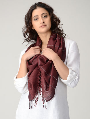 Maroon-Ivory Natural-dyed Wool Stole