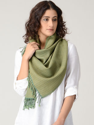 Green Natural-dyed Wool Stole