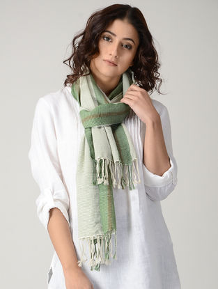 Ivory-Green Natural-dyed Wool Stole