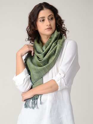 Green Natural-dyed Silk Wool Stole