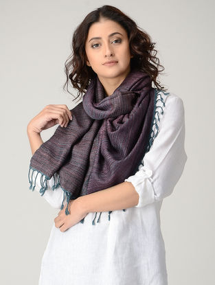 Maroon-Grey Natural-dyed Wool Stole