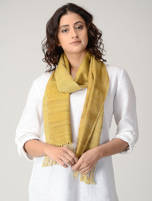 Yellow Natural-dyed Silk Wool Scarf