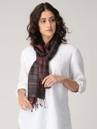 Maroon-Black Natural-dyed Silk Wool Scarf