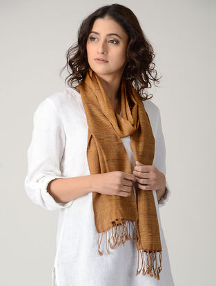 Orange Natural-dyed Silk Wool Scarf