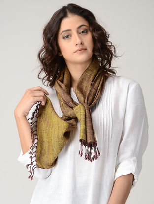 Yellow-Maroon Natural-dyed Silk Wool Scarf