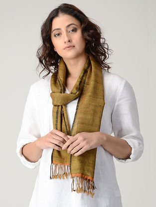Ochre Natural-dyed Silk Wool Scarf