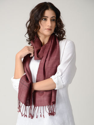 Maroon Natural-dyed Silk Wool Scarf