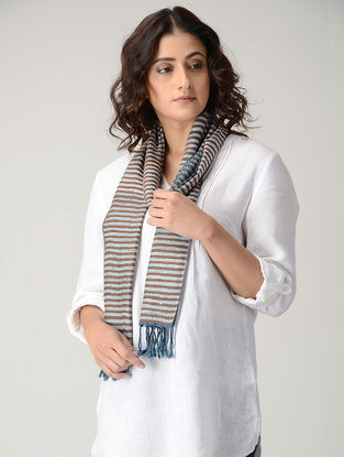 Blue-Brown Striped Natural-dyed Silk Wool Scarf