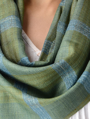 Green-Blue Natural-dyed Silk Scarf