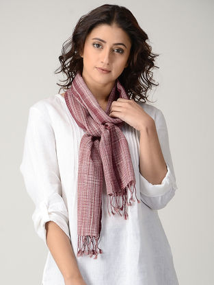 Maroon-Ivory Natural-dyed Wool Scarf