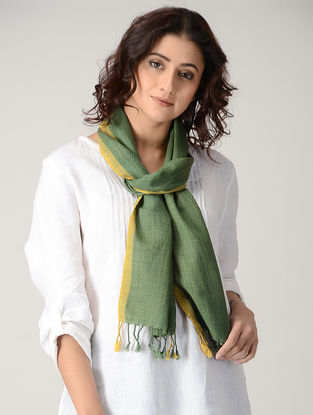 Green-Yellow Natural-dyed Wool Scarf
