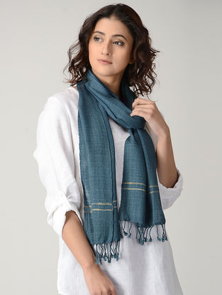 Blue Natural-dyed Wool Scarf