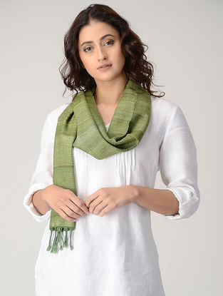 Green Natural-dyed Silk Wool Scarf