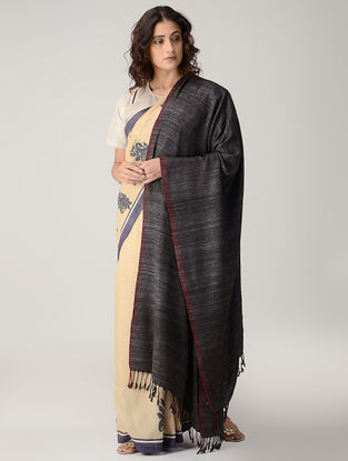 Black-Maroon Natural-dyed Silk Wool Shawl