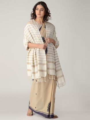 Ivory-Beige Natural-dyed Silk Wool Shawl