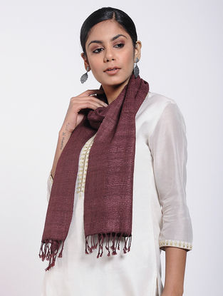 Maroon Natural-dyed Silk-Wool Scarf