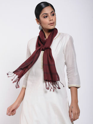 Maroon Natural-dyed Wool Scarf