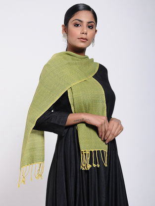 Green Natural-dyed Wool Scarf