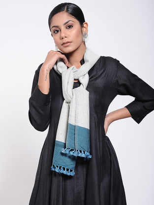 Ivory-Blue Natural-dyed Wool Scarf with Tassels