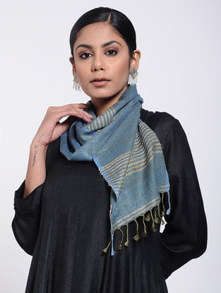 Blue-Beige Natural-dyed Silk Scarf