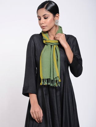 Green-Yellow Natural-dyed Wool Scarf with Tassels