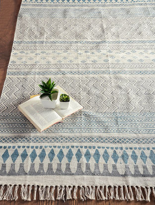 Blue-Grey Hand Block-printed Cotton Rug (6ft x 4.2ft)