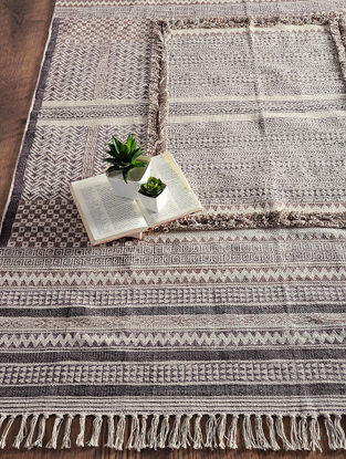 Brown-Grey Hand Block-printed Cotton Rug (6.3ft x 4.2ft)