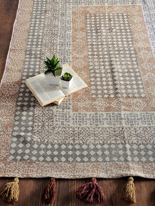 Brown-Grey Hand Block-printed Cotton Rug (6ft x 4.2ft)