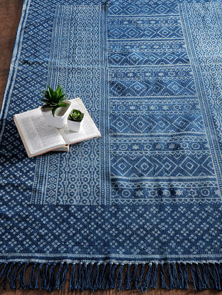 Blue-Grey Hand Block-printed Cotton Rug (6ft x 4ft)