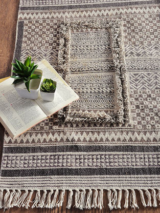 Brown-Grey Hand Block-printed Cotton Rug (3ft x 2ft)