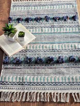Multicolored Hand Block-printed Cotton Rug (3.2ft x 2ft)
