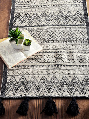 Multicolored Hand Block-printed Cotton Rug (3ft x 2ft)