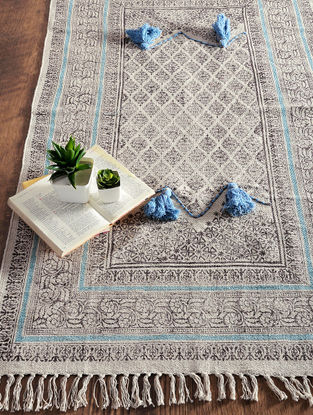 Multicolored Hand Block-printed Cotton Rug (5ft x 2.9ft)