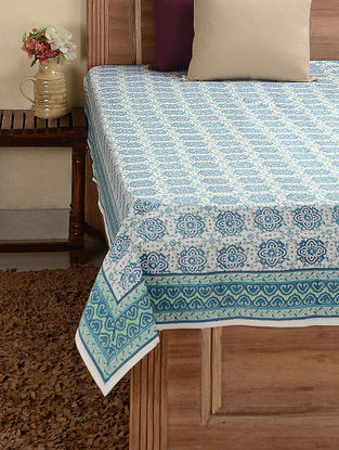Blue-White Hand-block Printed Cotton Double Bed Cover (107in x 89in)