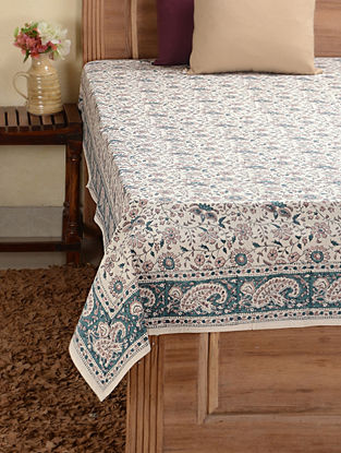 Green Hand-block Printed Cotton Double Bed Cover (102in x 89in)
