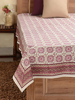 Pink-White Hand-block Printed Cotton Double Bed Cover (104in x 90in)