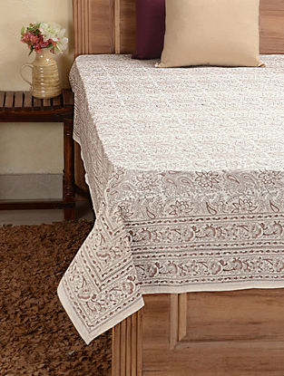 Beige Hand-block Printed Cotton Single Bed Cover (88in x 60in)