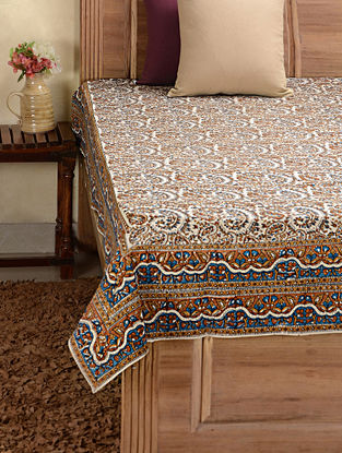 Brown-White Hand-block Printed Cotton Single Bed Cover (89in x 58in)