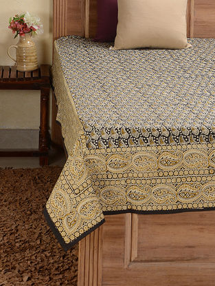 Black-White Hand-block Printed Cotton Single Bed Cover (94in x 57in)