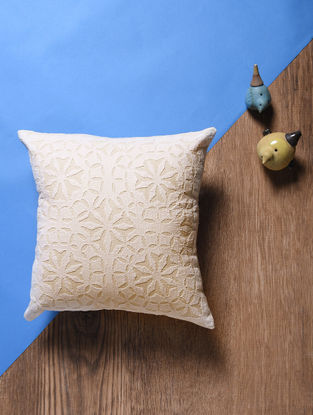 Off White Applique Cotton Cushion Cover (14in x 14in)