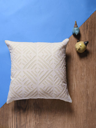 Off White Applique Cotton Cushion Cover (15in x 15in)