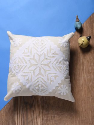 Off White Applique Cotton Cushion Cover (16in x 16in)