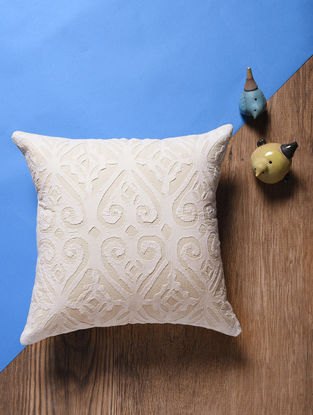 Off White Applique Cotton Cushion Cover (13.5in x 13.5in)