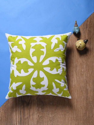 Green-Off White Applique Cotton Cushion Cover (16.5in x 16.5in)