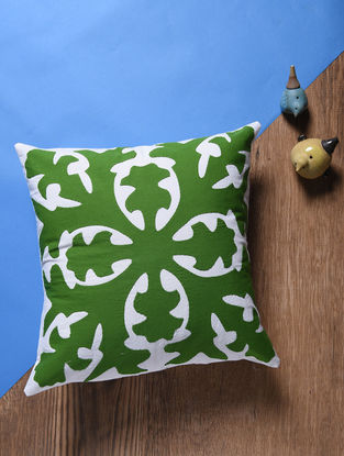 Green-Off White Applique Cotton Cushion Cover (16in x 16in)