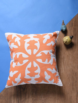 Orange-Off White Applique Cotton Cushion Cover (16.5in x 16.5in)