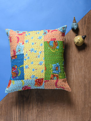 Multicolored Kantha Embroidered Gudri Cotton Cushion Cover (16in x 16in)